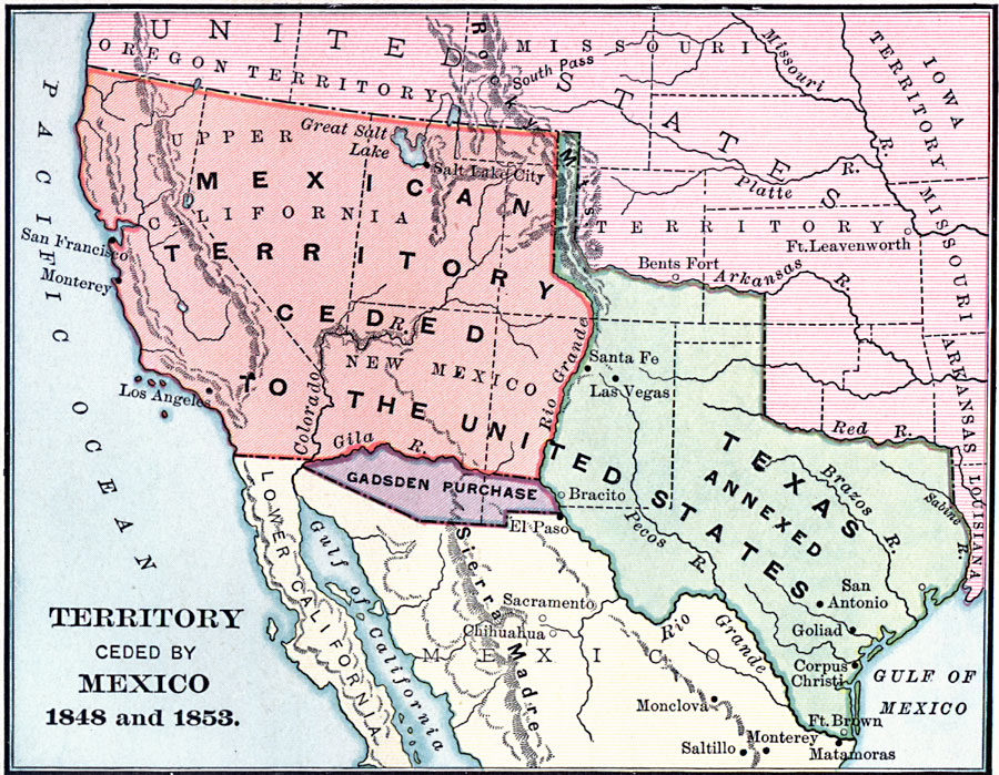 Map of Texas in 1848 TexAgs